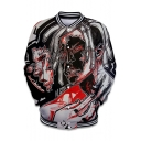 Popular Unique Cool 3D Figure Painting Rib Stand Collar Long Sleeve Button Down Baseball Jacket