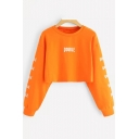 Cool Simple Letter DOUBLE Print Basic Round Neck Long Sleeve Crop Sweatshirt