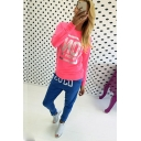 Fashion Gold Stamping Letter MY PROBLEM Print Round Neck Long Sleeve Pink T-Shirt