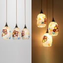 Rustic Style Flower Pendant Lamp with Oval Shade 3 Lights Stained Glass Hanging Light for Villa