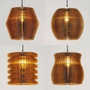 Corrugated Fiberboard Pendant Light Restaurant 1 Light Rustic Stylish Hanging Light in Beige