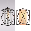 Cylinder Cafe Pendant Lamp with Cage & Plug-In Cord Clear Glass/Flax 1 Head Vintage Hanging Light in Black