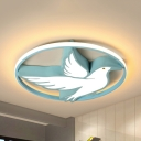 Cartoon Blue Eagle LED Flush Mount Light Acrylic Ceiling Light in Warm/White/Third Gear for Child Bedroom