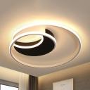 Modern Ring LED Flush Mount Light Acrylic Black Ceiling Lamp in Warm/White for Child Bedroom