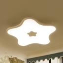 Modern White LED Flushmount Light Star Acrylic Eye-Caring Ceiling Fixture in Warm/White for Girl Bedroom