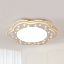 Creative White Flush Mount Light with Crystal Bead Acrylic LED Ceiling Lamp in Warm/White for Kid Bedroom