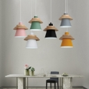 Living Room Bucket Hanging Light Metal One Light Macaron Loft Candy Colored Suspension Light