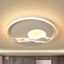 Kindergarten Sun & Mountain Flush Ceiling Light Acrylic Creative LED Ceiling Fixture in Warm/White