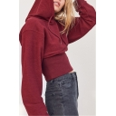Womens Trendy Solid Color Long Sleeve Gathered Waist Cotton Cropped Hoodie