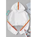 Hot Popular Rainbow Stripe Printed Long Sleeve Drawstring Hem Cropped White Hoodie