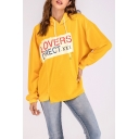 Popular Fashion Letter LOVERS Pattern Long Sleeve Oversized Yellow Hoodie