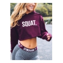 Simple Letter SQUAT Printed Long Sleeve Cropped Casual Sport Hoodie