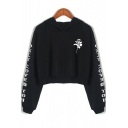 Basic Simple Floral Letter Print Long Sleeve Black Cropped Hoodie