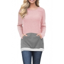 Womens Trendy Colorblock Patchwork Long Sleeve Round Neck Sweatshirt with Pocket