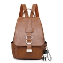 Hot Fashion Solid Color Belt Buckle Embellishment PU Leather Leisure Bag College Backpack 24*12*32 CM