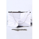 Women's Fashion Solid Color Bow Embellishment White Silk Evening Clutch Bag 24*6*15 CM