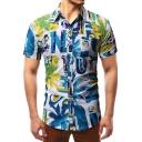 Summer Trendy Blue Coconut Palm Pattern Short Sleeve Button Up Slim Shirt for Men