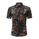 男性のための夏のシックなブラックフローラルプリント半袖スリムボタンシャツ