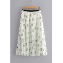Summer Elastic Waist Fashion Allover Avocado Printed Midi White Pleated Skirt