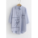 Simple Cute Cartoon Cat Embroidery Half Sleeve Casual Loose Button Shirt