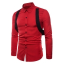 Mens Cool Unique Ribbon Embellished Long Sleeve Slim Fitted Plain Button Up Shirt