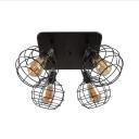 Vintage Globe Wire Frame Ceiling Lamp 4 Lights Metal Flush Ceiling Light in Black for Bar