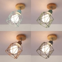 Rotatable Birdcage Shop Ceiling Mount Light Metal Single Light Antique Style Flush Mount Light