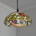 Stained Glass Bloom Hanging Light 1 Light Tiffany Rustic Ceiling Pendant for Cloth Shop