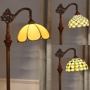 1 Light Bowl Standing Light Tiffany Antique Glass Floor Lamp Floor Lamp in Bronze for Dining Room