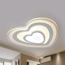 White Hearts LED Ceiling Mount Light Modern Acrylic Stepless Dimming/White Lighting Flush Light for Dining Room