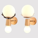 Wood Finsh Glass Globe Shade Wall Light in Nodic Style for Corridor and Bedroom