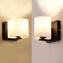 White Frosted Shade Wall Light Black Finish Metal Base Lamp