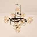 Amber/Cream/Smoke Glass Chandelier with Globe Shade 13 Lights Contemporary Hanging Light for Study Room