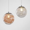 Staircass Led Lighting 6 Inch Clear Glass Globe Single Pendant in Modern Style