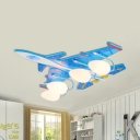 Acrylic Airplane LED Ceiling Lamp Boys Bedroom 4 Heads Cool Flush Ceiling Light in Blue