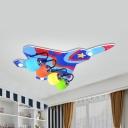 4 Heads Plane LED Flush Ceiling Light Cartoon Aluminum Multi-Color Ceiling Lamp for Nursing Room