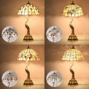 Antique Tiffany Beige Desk Light with Peacock 2 Lights Stained Glass Table Light for Living Room