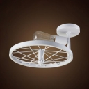 Vintage White Finish Semi Flushmount Light with Wheel Single Light Metal Ceiling Mount Light for KTV