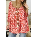 Hot Popular Scoop Neck Three-Quarter Sleeve Casual Loose T-Shirt for Women
