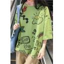 Girls Summer Funny Cartoon Letter Graffiti Printed Round Neck Oversized T-Shirt