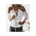 Trendy White Simple Plain Hollow Crisscross V-Neck Cold Shoulder Blouse Top