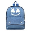 Hot Fashion Printed Flat Pocket Front Light Blue Denim Vintage School Bag Backpack 30*10*38 CM