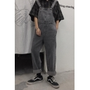 Guys Vintage Grey Rolled Cuff Casual Straight Leg Denim Bib Overalls