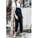 Guys New Stylish Casual Loose Simple Plain Black Corduroy Pants Overalls Jumpsuits