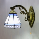 Glass Cone Wall Light 1 Light Vintage Style Engraved Sconce Light with Pull Chain for Hallway