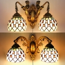 Dome Living Room Sconce Light Glass 2 Lights Tiffany Style Engraved Wall Lamp with Pull Chain