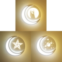 Acrylic Round LED Sconce Light with Moon Bedroom Dining Room Creative White Wall Lamp in Warm