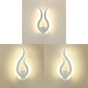 Living Room Bedroom Sconce Light Acrylic Contemporary White LED Wall Light in Warm