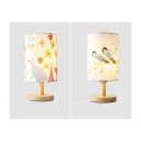 1 Light Cylinder Table Lamp with Bird Lovely Fabric Colorful Study Light for Boy Girl Bedroom