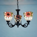 Bathroom Cafe Dome Chandelier with Flower Decoration Stained Glass Rustic Style Pendant Lighting